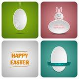 Glückliche Ostern-Dekorationskarte gemacht vom Weißbuch Stockbilder