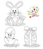 Glückliche Ostern-Farbtonbuchskizzen Stockfotos