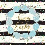 Glückliche Ostern-Feiertagsfeierkarte mit Hand gezeichneter Briefgestaltung Lizenzfreie Stockfotografie