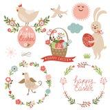 Glückliche Ostern-Grafikelemente Lizenzfreie Stockbilder