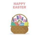 Glückliche Ostern-Grußkarte/Dekor/Glückwünsche in der flachen Art Lizenzfreie Stockfotos
