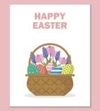 Glückliche Ostern-Grußkarte in der flachen Art Lizenzfreie Stockfotografie