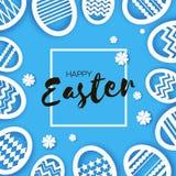 Glückliche Ostern-Grußkarte Eier in der Papierschnittart Frühlingsfeiertage auf Blau Raum für Text Origami Blume nave vektor abbildung