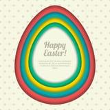 Glückliche Ostern-Grußkarte, Fahne oder Plakatdesignschablone Bunter Papierhintergrund mit Ostereirahmen lizenzfreie abbildung