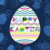 Glückliche Ostern-Grußkarte, Fahne oder Plakatdesignschablone Geometrische Beschriftung in der Eiform lizenzfreie abbildung