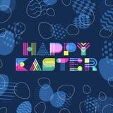 Glückliche Ostern-Grußkarte, Fahne oder Plakatdesignschablone Geometrische Beschriftung und bunte Ostereier vektor abbildung
