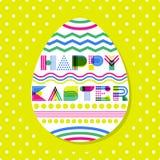 Glückliche Ostern-Grußkarte, Fahne oder Plakatdesignschablone Geometrische Beschriftung und buntes Osterei vektor abbildung