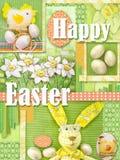 Glückliche Ostern-Grußkarte Feiertagscollage mit Ostern-Dekorationen Heller hellgrüner Ostern-Rahmenhintergrund Stockfoto