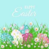 Glückliche Ostern-Grußkarte mit Eiern und Blumen Stockbild