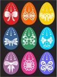 Glückliche Ostern-Grußkarte mit vielen Eiern stockbilder