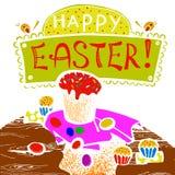 Glückliche Ostern-Grußpostkarten-Handzeichnung Stockfotografie