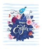 Glückliche Ostern-Handschriftlicher Text gegen Busch von rosafarbenen Blumen, von blauem Vogel, der auf ihn sitzen und von horizo lizenzfreie abbildung