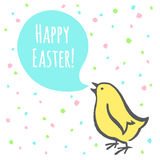 Glückliche Ostern-Illustration mit Küken und Gruß