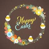Glückliche Ostern-Kalligraphie-Gruß-Karte Moderne Bürsten-Beschriftung und Blumenkränze Frohe Wünsche, Urlaubsgrüße Lizenzfreie Stockfotografie