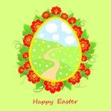 Glückliche Ostern-Karte mit Blumen Lizenzfreies Stockbild