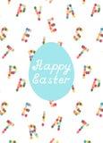 Glückliche Ostern-Karte mit Buchstabehintergrund Lizenzfreie Stockfotografie