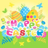 Glückliche Ostern-Karte mit Eiern und Blumen Lizenzfreies Stockfoto