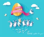 Glückliche Ostern-Karte mit Häschen, Mädchen und Ei lizenzfreie abbildung