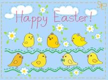 Glückliche Ostern-Karte mit Hühnern stock abbildung