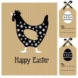 Glückliche Ostern-Karte mit Henne und Eiern, Einladung, schwarzes weißes Design, nette Illustration Stockfotografie