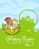 Glückliche Ostern-Karte mit Henne und Korb mit Ostern Stockfotos