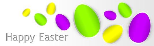 Glückliche Ostern-Karte mit Ostereiern Stockfotos