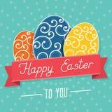 Glückliche Ostern-Karte - Vektor-Illustration Stockfotos