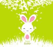 Glückliche Ostern-Kartenillustration mit Osterhasen Lizenzfreie Stockfotografie