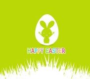 Glückliche Ostern-Kartenillustration mit Osterhasen innerhalb des Eies Lizenzfreie Stockfotos