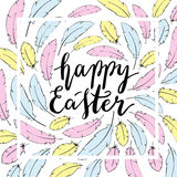 Glückliche Ostern-Kartenschablone Handbeschriftung Lizenzfreies Stockfoto
