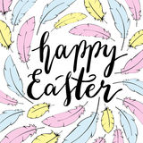 Glückliche Ostern-Kartenschablone Handbeschriftung Lizenzfreie Stockfotos