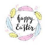Glückliche Ostern-Kartenschablone Handbeschriftung Lizenzfreies Stockbild