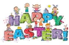 Glückliche Ostern-Kinder auf Buchstaben Stockfotos