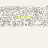 Glückliche Ostern-Linie Art Icons Seamless Web Banner Lizenzfreie Stockfotografie