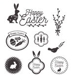 Glückliche Ostern-Schablone, -ikonen, -zeichen mit Vögeln, -eier und -kaninchen Lizenzfreie Stockbilder