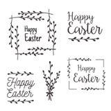 Glückliche Ostern-Schablonen, Aufkleber, Grenzen stock abbildung