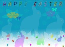 Glückliche Ostern-Schattenbild-Häschen-Gruß-Karte Lizenzfreies Stockfoto
