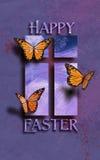 Glückliche Ostern-Schmetterlinge mit Kreuz Stockfoto