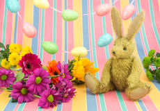 Glückliche Ostern-Szene Kaninchen und helle farbige Blumen stockfotografie