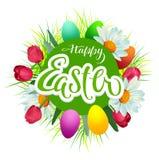 Glückliche Ostern-Textgrußkarte Blumen und farbige Eier Lizenzfreie Stockfotos