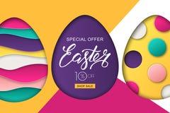 Glückliche Ostern-Verkaufsfahne Entwerfen Sie für Feiertagsflieger, Plakat, Grußkarte, Parteieinladung Auch im corel abgehobenen  vektor abbildung
