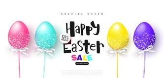 Glückliche Ostern-Verkaufsfahne Hintergrund mit schönen bunten Eiern Vector Illustration für Poster, Kupons, Promotionsmaterial lizenzfreie abbildung