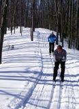 Glückliche Paare auf Querland-Skis stockbilder