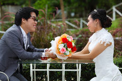 Glückliche Paare am Banketttisch auf Feld Lizenzfreies Stockbild