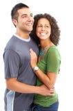 Glückliche Paare in der Liebe. Über weißem Hintergrund Stockfoto