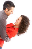 Glückliche Paare in der Liebe. Über weißem Hintergrund Stockfotos