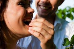 Glückliche Paare, die Kirschen am Sommer essen lizenzfreie stockfotos