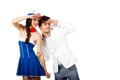 Glückliche Paare, die weg schauen Lizenzfreies Stockfoto
