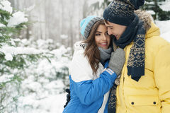 Glückliche Paare im Winter Lizenzfreies Stockbild