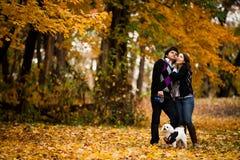 Glückliche Paare mit Hund während des Herbstes Stockfotos